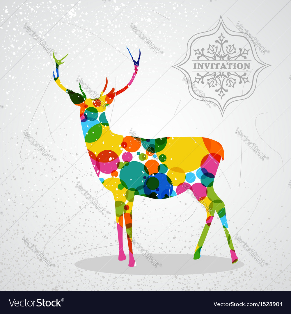 Merry christmas colorful reindeer shape vector | Price: 1 Credit (USD $1)