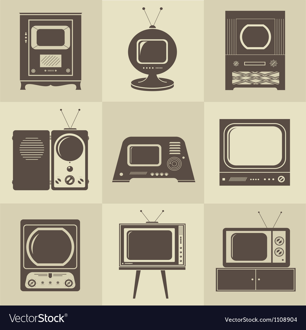 Retro vintage tv set vector | Price: 1 Credit (USD $1)