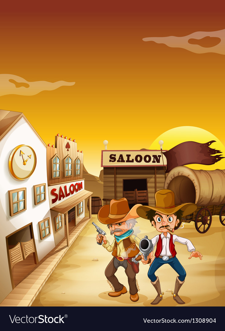 Two armed men standing outside the saloon vector | Price: 1 Credit (USD $1)