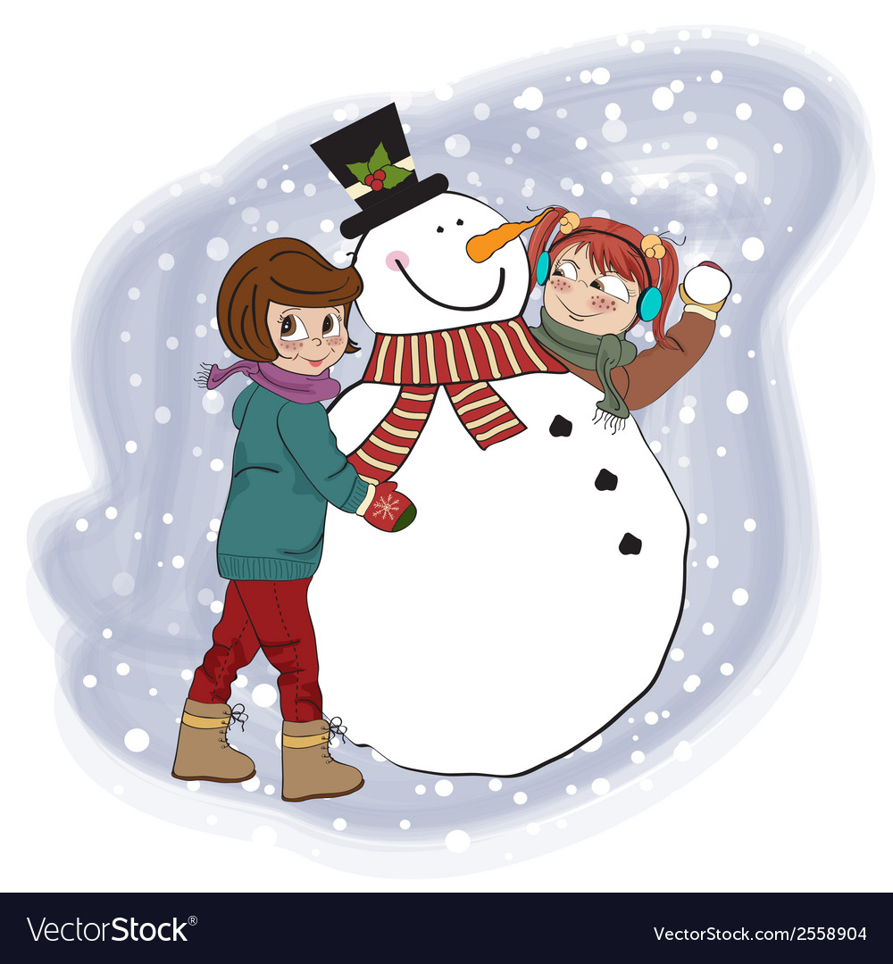 Two happy girls building a snowman vector | Price: 1 Credit (USD $1)