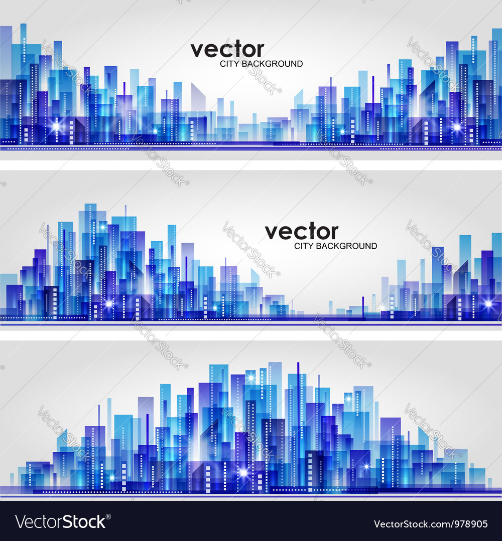 Abstract cityscape background banners vector | Price: 1 Credit (USD $1)