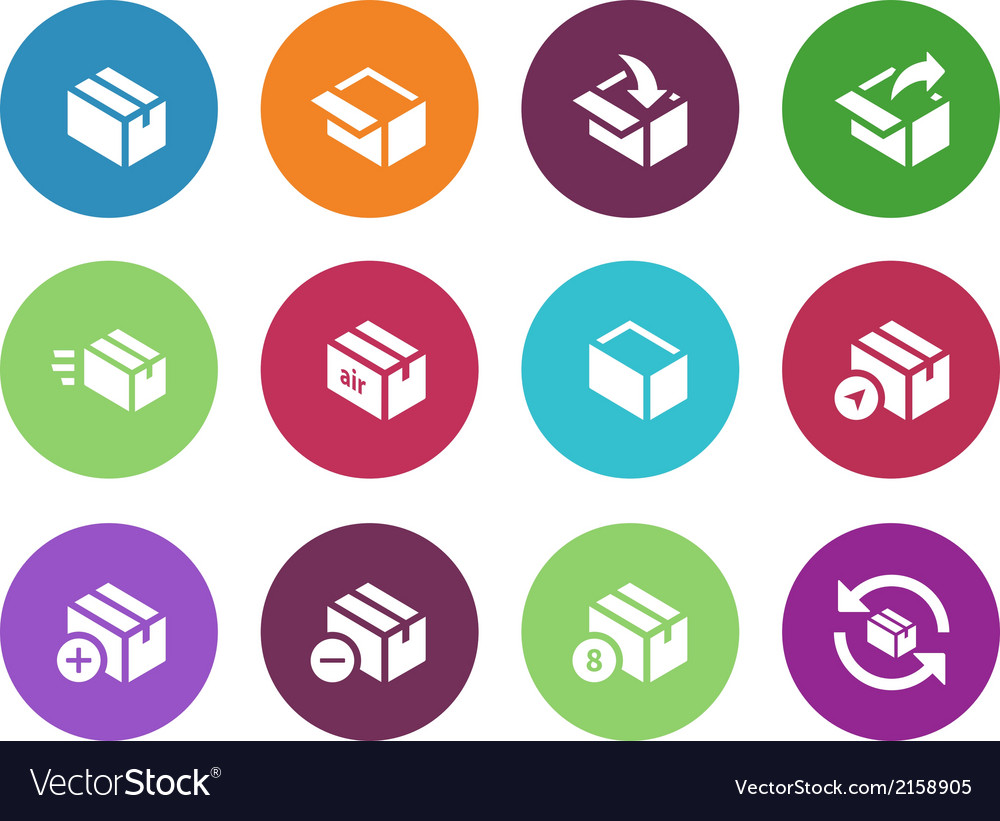 Box circle icons on white background vector | Price: 1 Credit (USD $1)