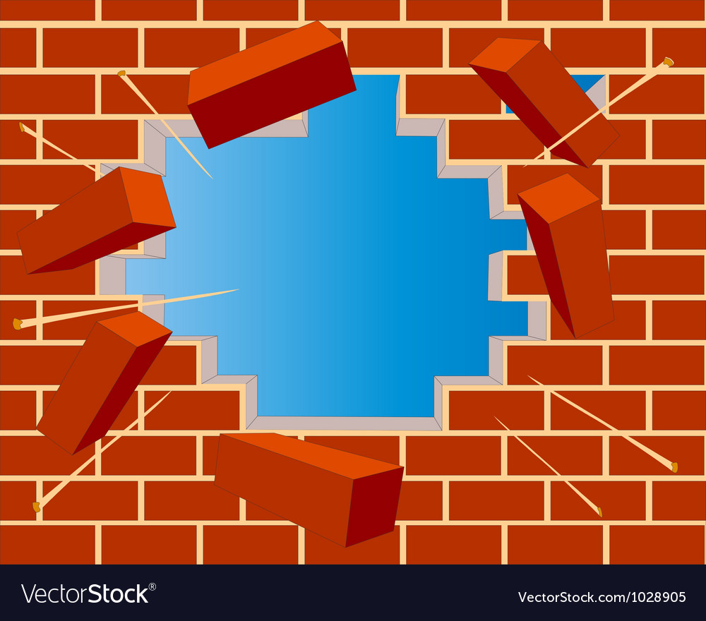 Broken brick wall with hole and sky vector | Price: 1 Credit (USD $1)