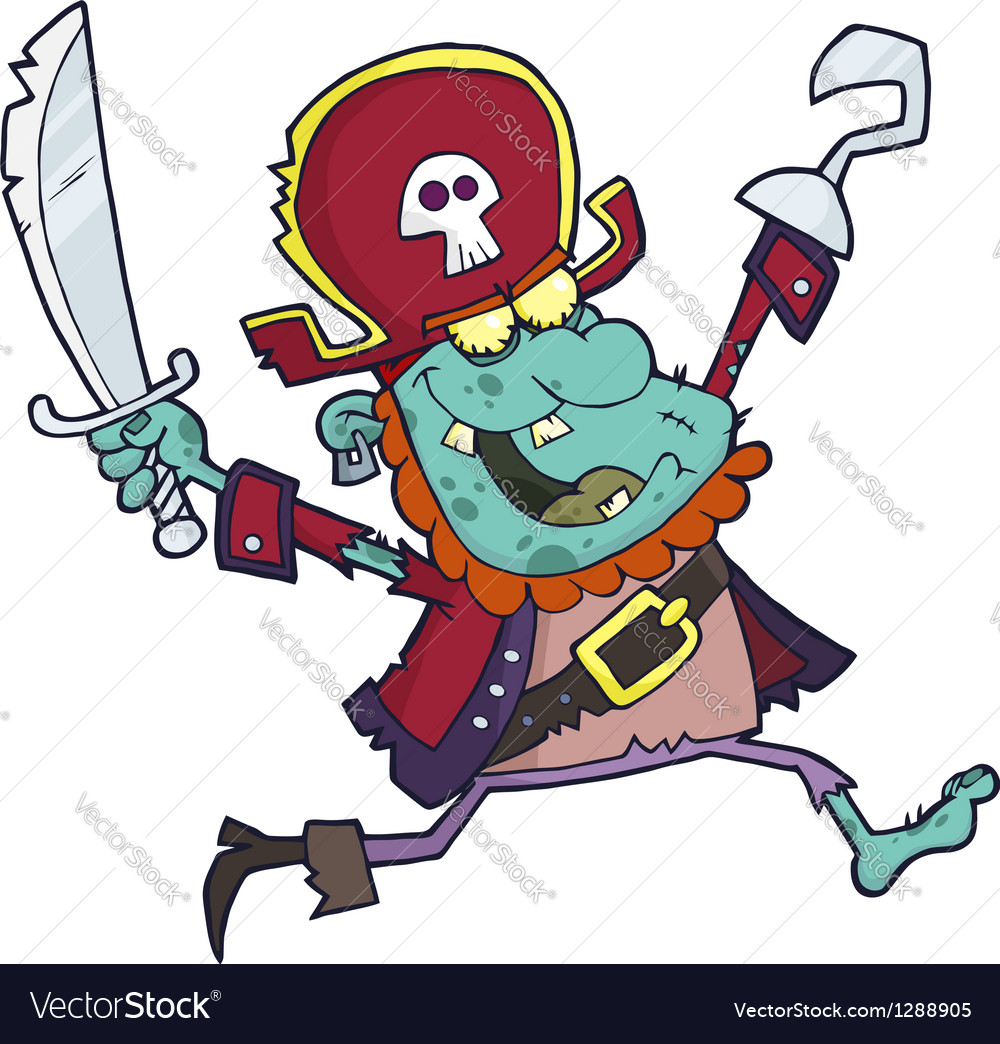 Cartoon pirate zombie with a cutlass vector | Price: 3 Credit (USD $3)
