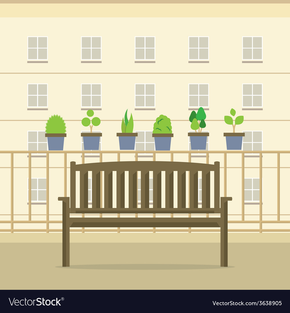 Empty wooden park chair at balcony vector | Price: 1 Credit (USD $1)