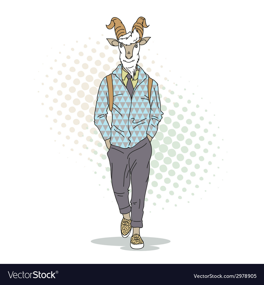 Fashion of goat hipster style vector | Price: 1 Credit (USD $1)