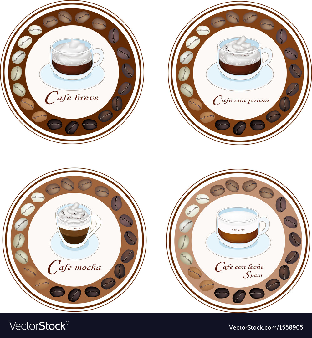 Four type of coffee beverage in retro round label vector | Price: 1 Credit (USD $1)
