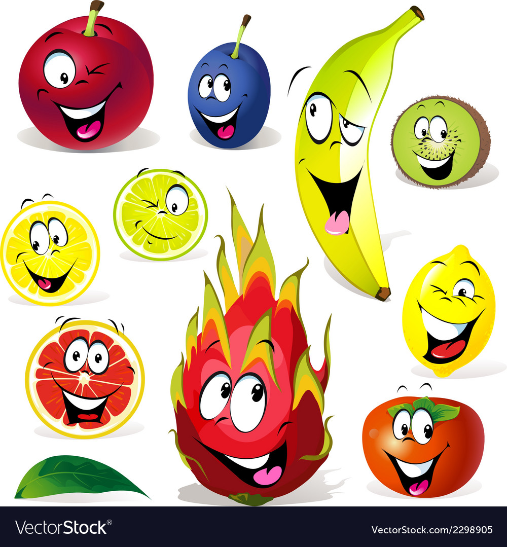 Fruit cartoon with many expressions vector | Price: 1 Credit (USD $1)