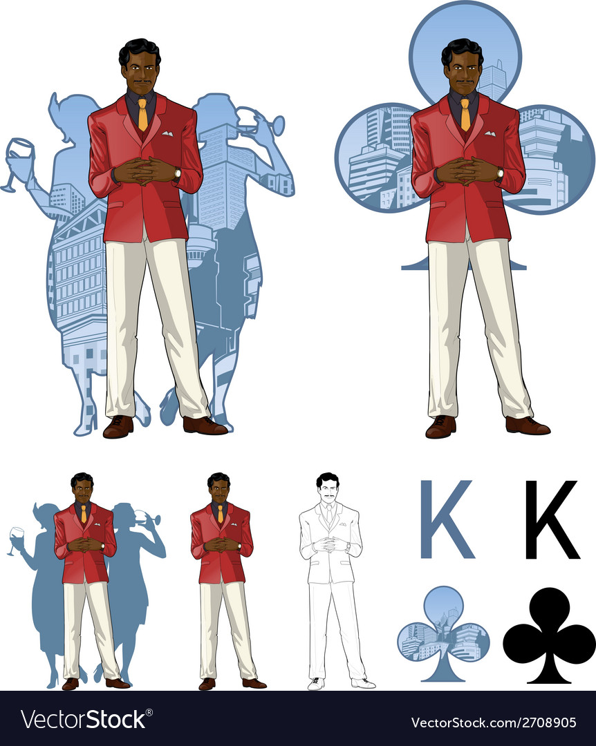 King of clubs afroamerican male party host with vector | Price: 1 Credit (USD $1)