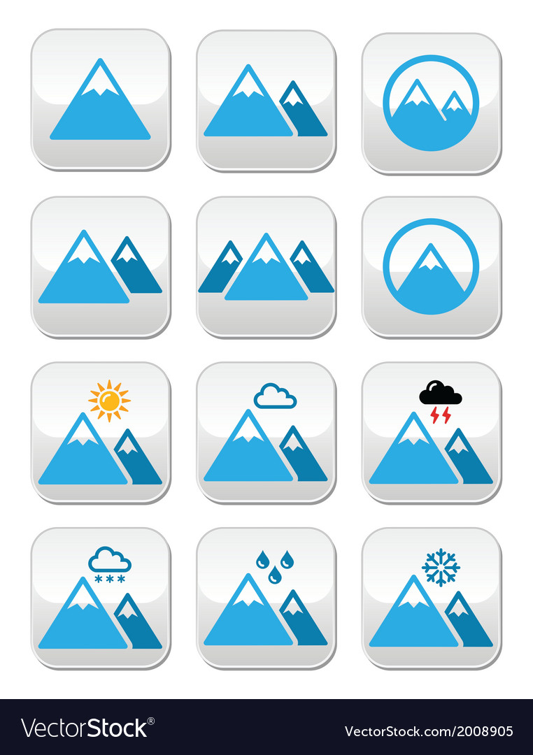 Mountain buttons set colour vector | Price: 1 Credit (USD $1)
