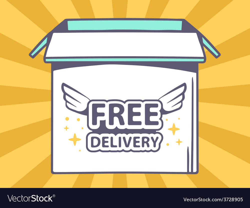 Open box with icon of free delivery on o vector | Price: 1 Credit (USD $1)