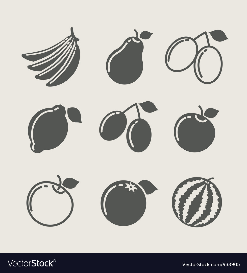 Set of fruit food icon vector | Price: 1 Credit (USD $1)