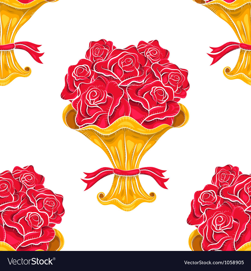 Vintage roses bouquet seamless pattern vector | Price: 1 Credit (USD $1)