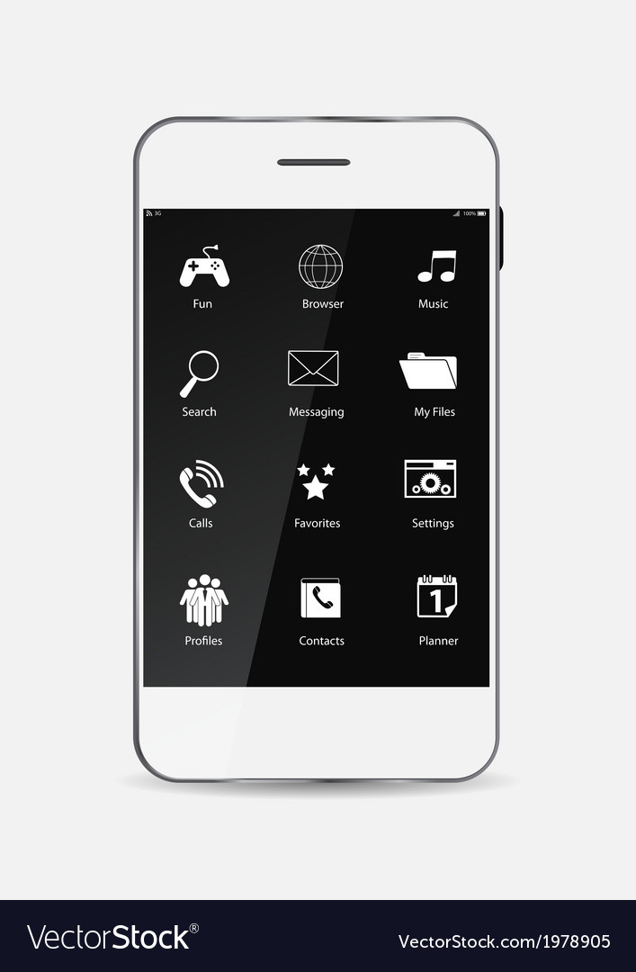 White mobile phone with icons on the screen vector | Price: 1 Credit (USD $1)