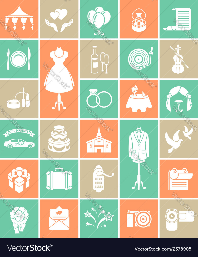 White silhouette wedding icons vector | Price: 1 Credit (USD $1)