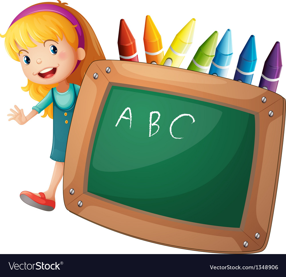 A young girl beside a blackboard and crayons vector | Price: 1 Credit (USD $1)