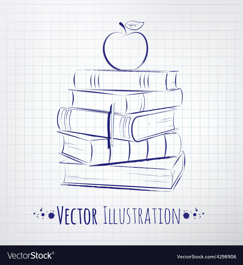 Apple on a pile of books vector | Price: 1 Credit (USD $1)