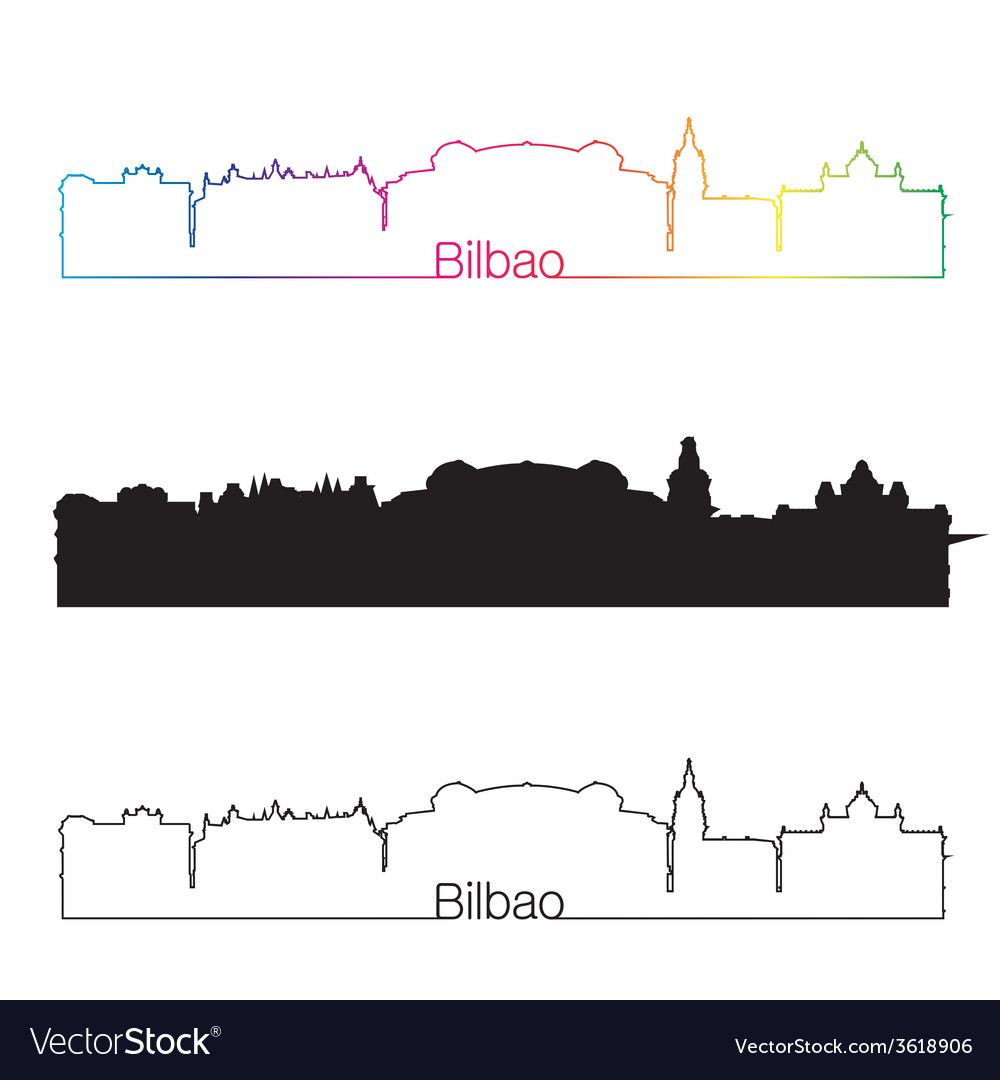 Bilbao skyline linear style with rainbow vector | Price: 1 Credit (USD $1)