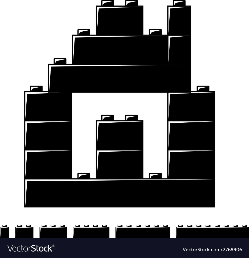 Children plastic bricks toy house silhouette vector | Price: 1 Credit (USD $1)