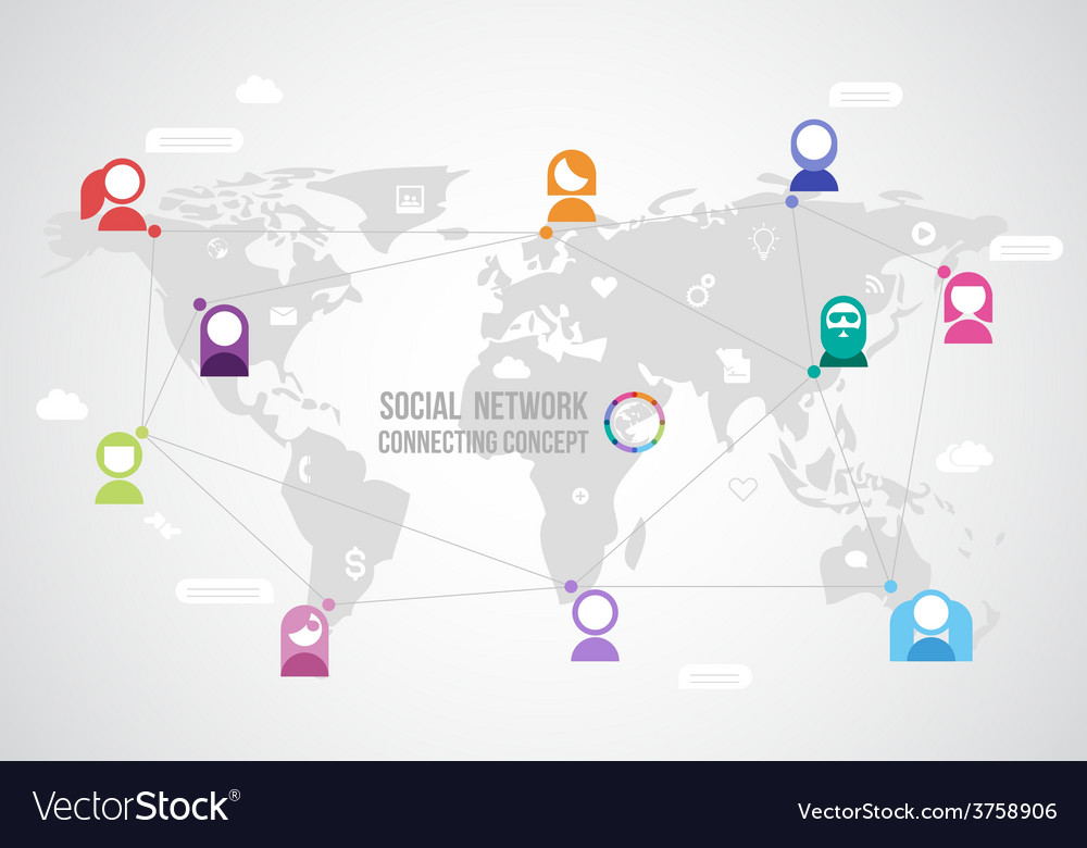 Flat design concept for social network with the vector | Price: 1 Credit (USD $1)