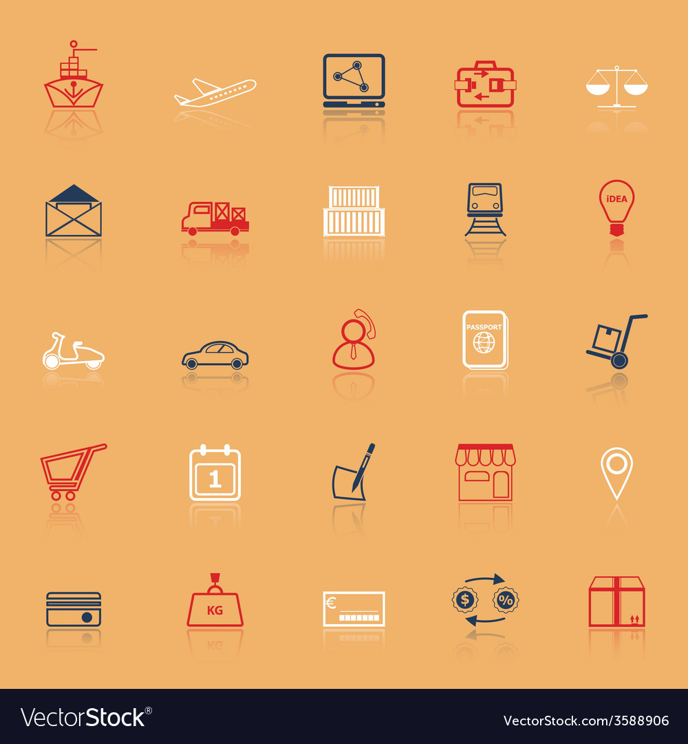 International business line icons with reflect vector | Price: 1 Credit (USD $1)