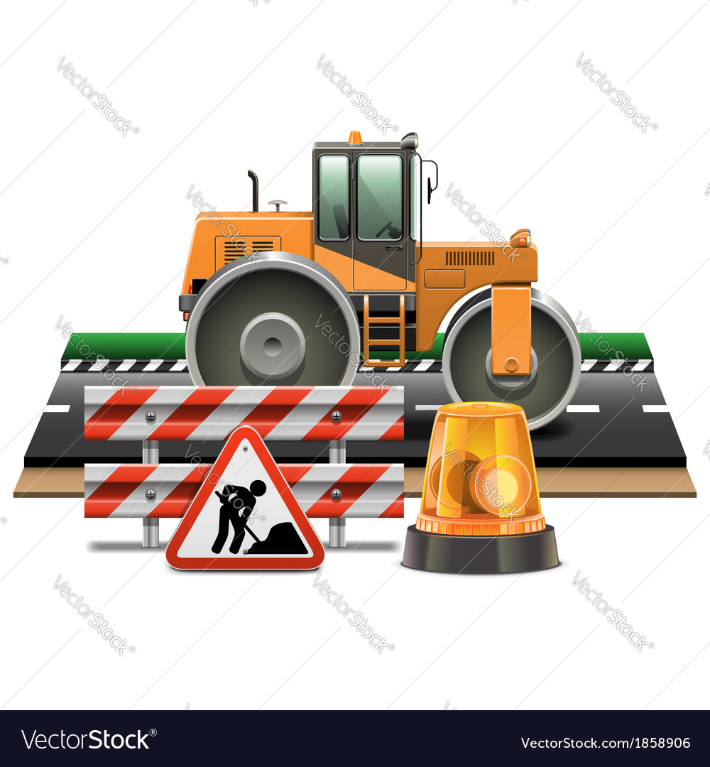 Road construction with road roller vector | Price: 3 Credit (USD $3)