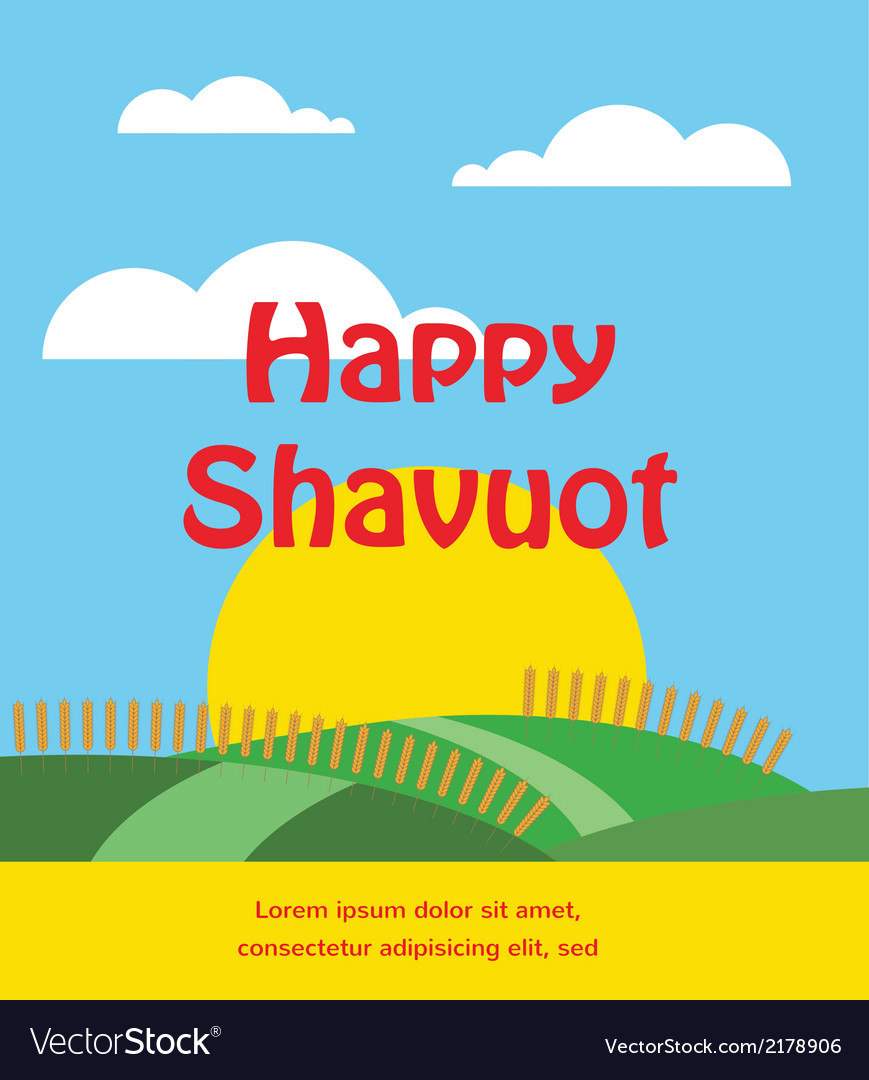 Summer or spring scene with wheat field shavuot vector | Price: 1 Credit (USD $1)