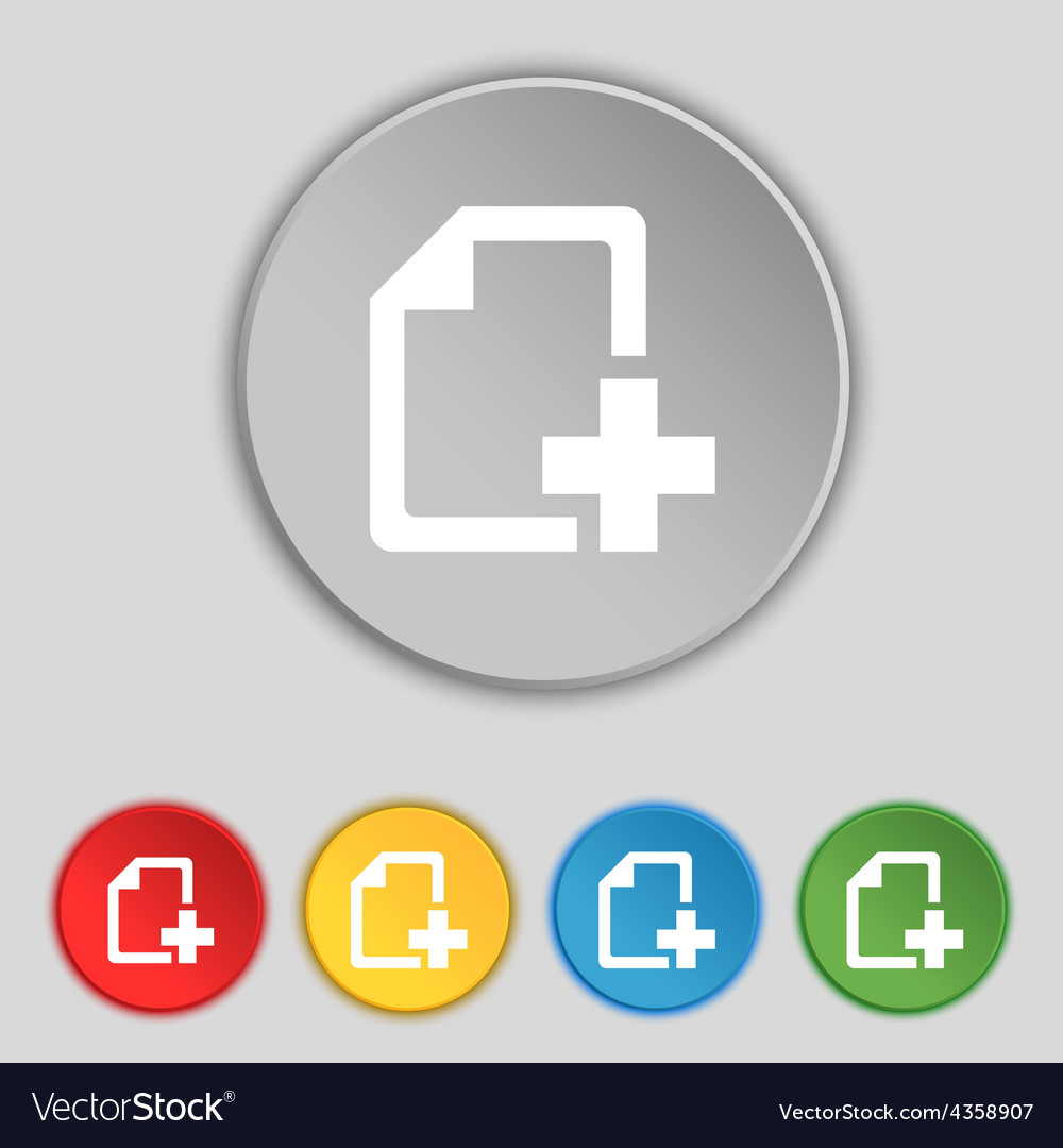 Add file document icon sign symbol on five flat vector | Price: 1 Credit (USD $1)