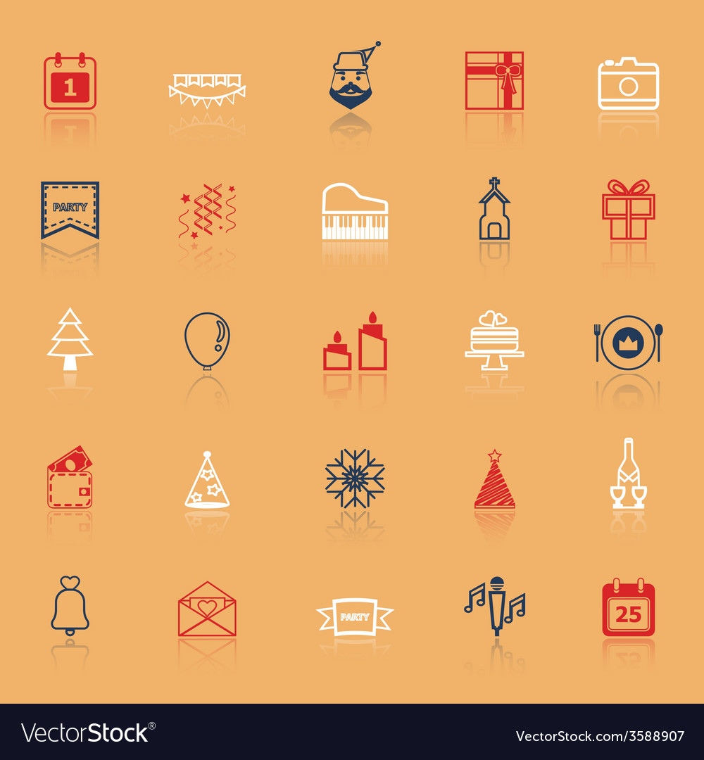 Christmas and new year line icons with reflect vector   Price: 1 Credit (USD $1)