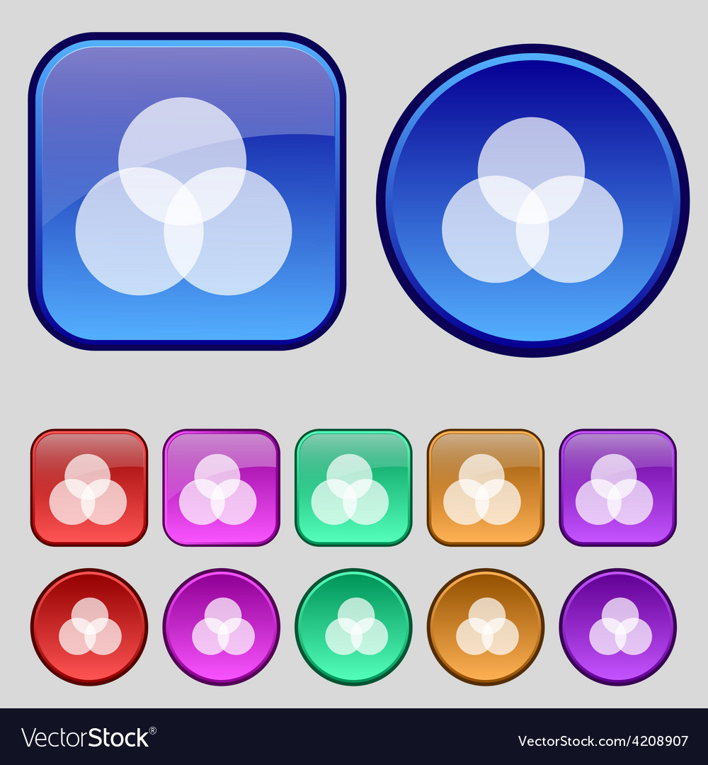 Color scheme icon sign a set of twelve vintage vector | Price: 1 Credit (USD $1)