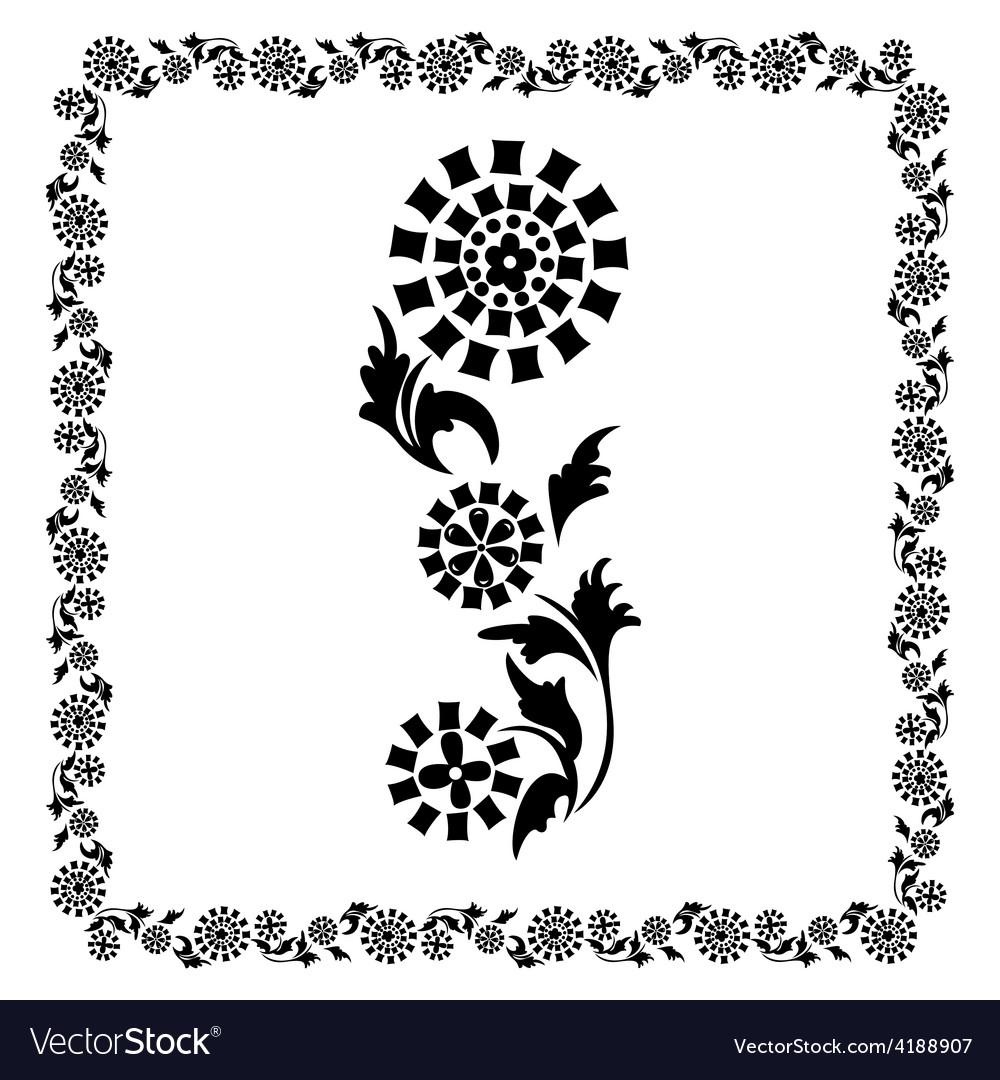 Flower frame black ornament vector | Price: 1 Credit (USD $1)