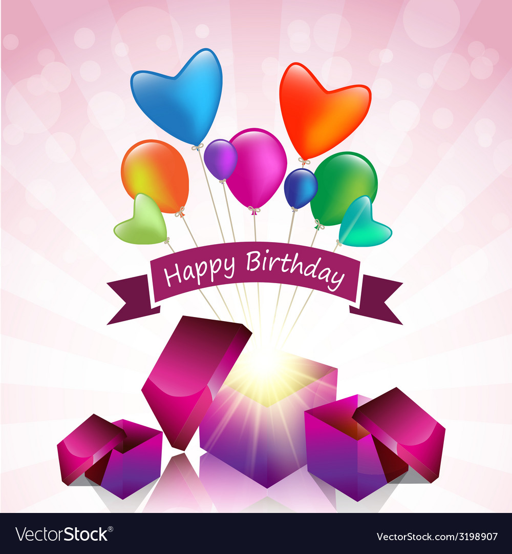 Happy birthday card with magic gift box vector | Price: 1 Credit (USD $1)