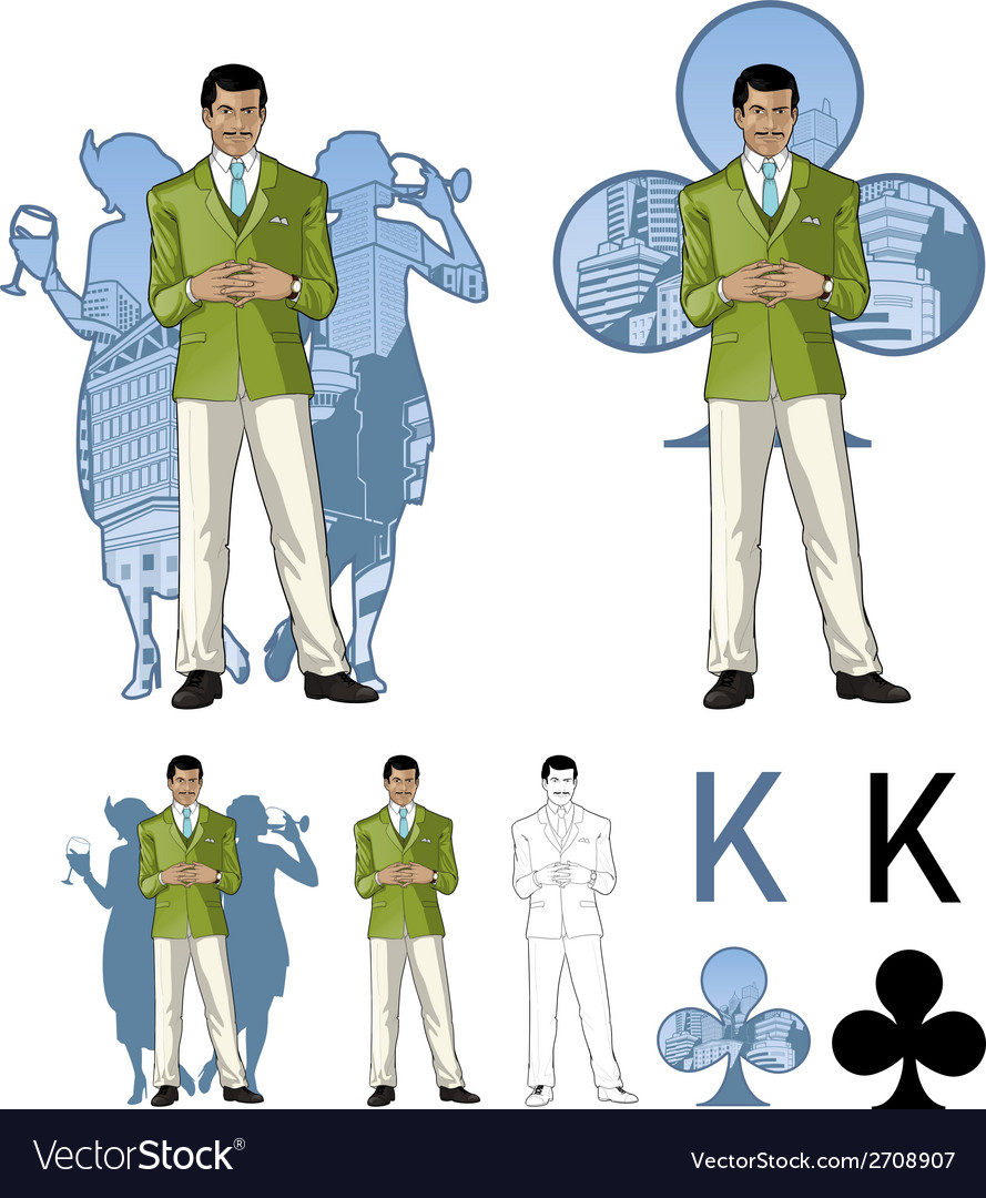 King of clubs asian male party host with female vector | Price: 1 Credit (USD $1)