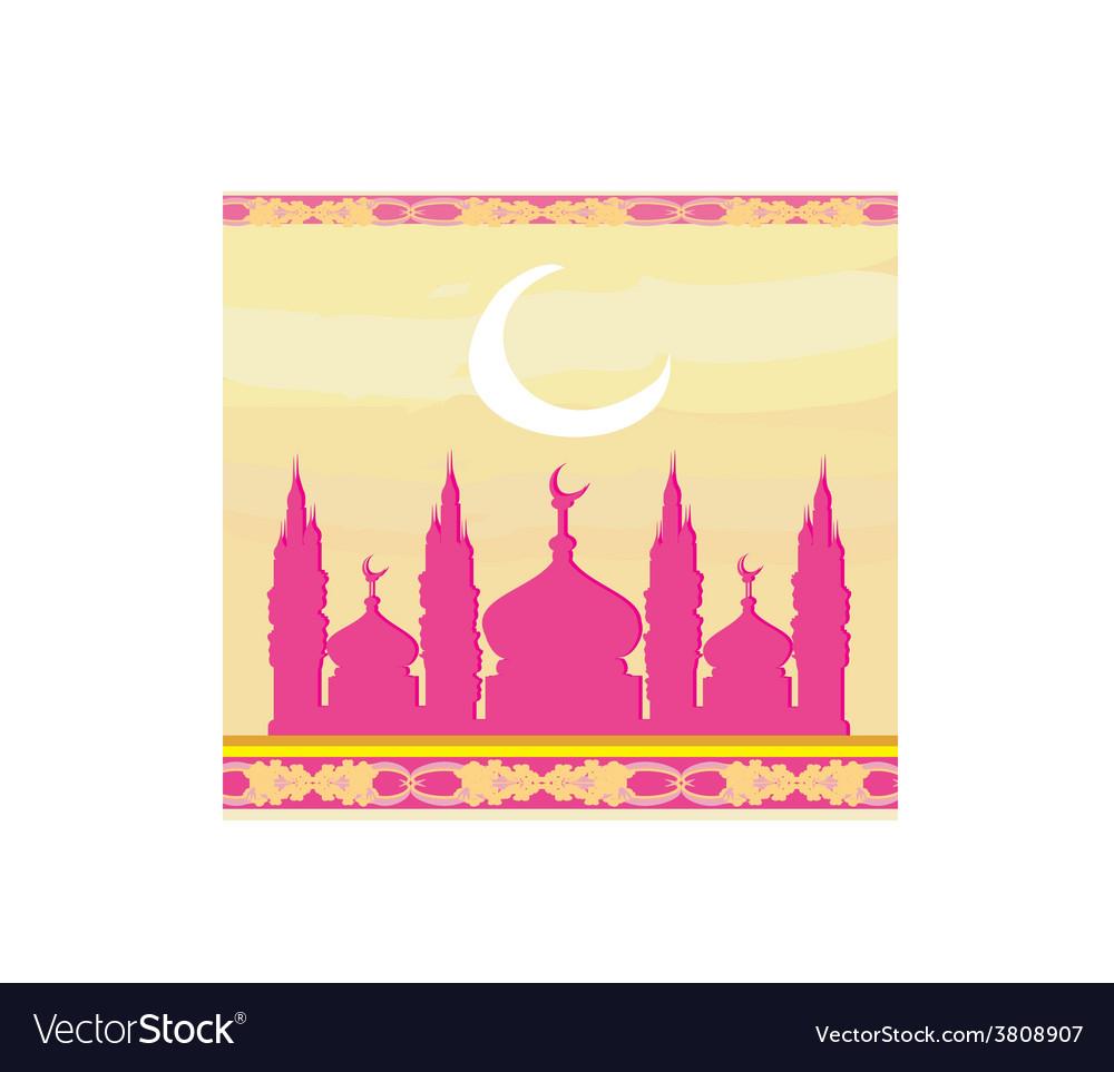 Ramadan background - mosque silhouette card vector | Price: 1 Credit (USD $1)