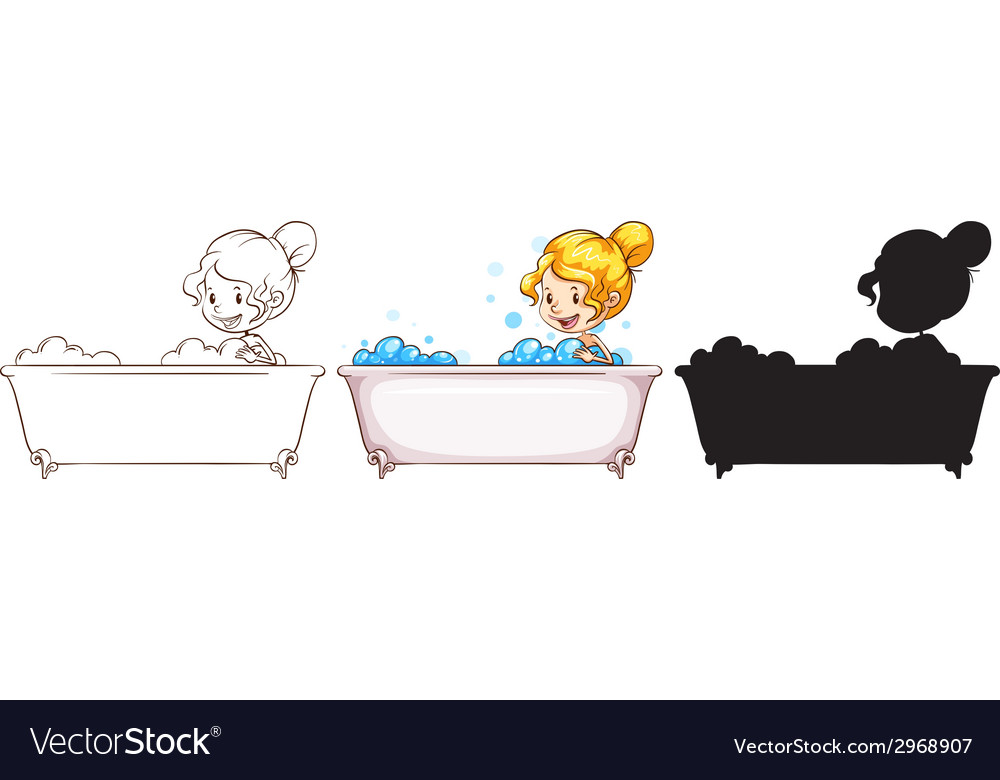 Sketches of a young lady at the bathtub vector | Price: 1 Credit (USD $1)