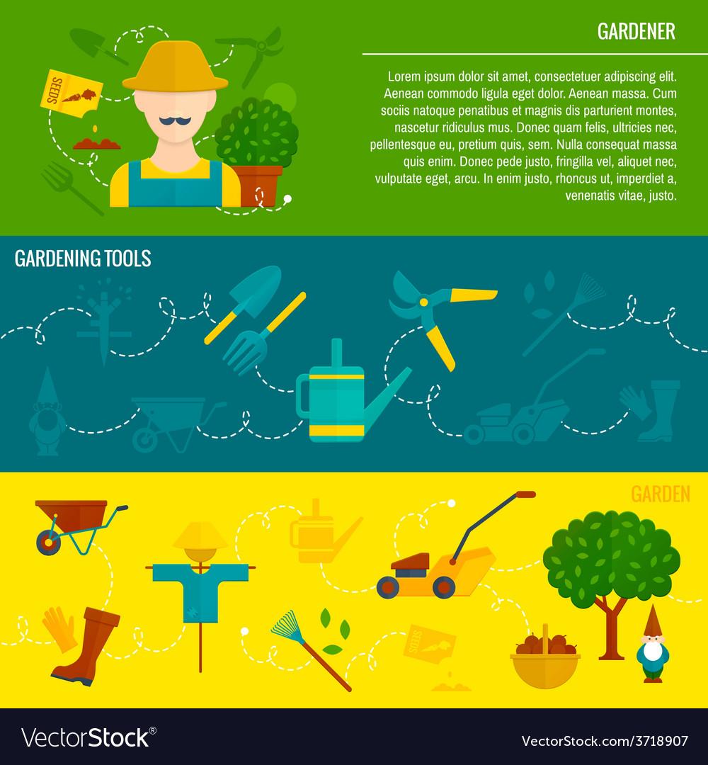 Vegetable garden horizontal banners flat vector | Price: 1 Credit (USD $1)