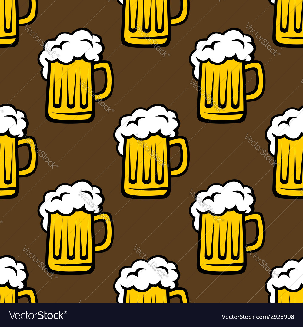 Beer tankards seamless pattern vector | Price: 1 Credit (USD $1)