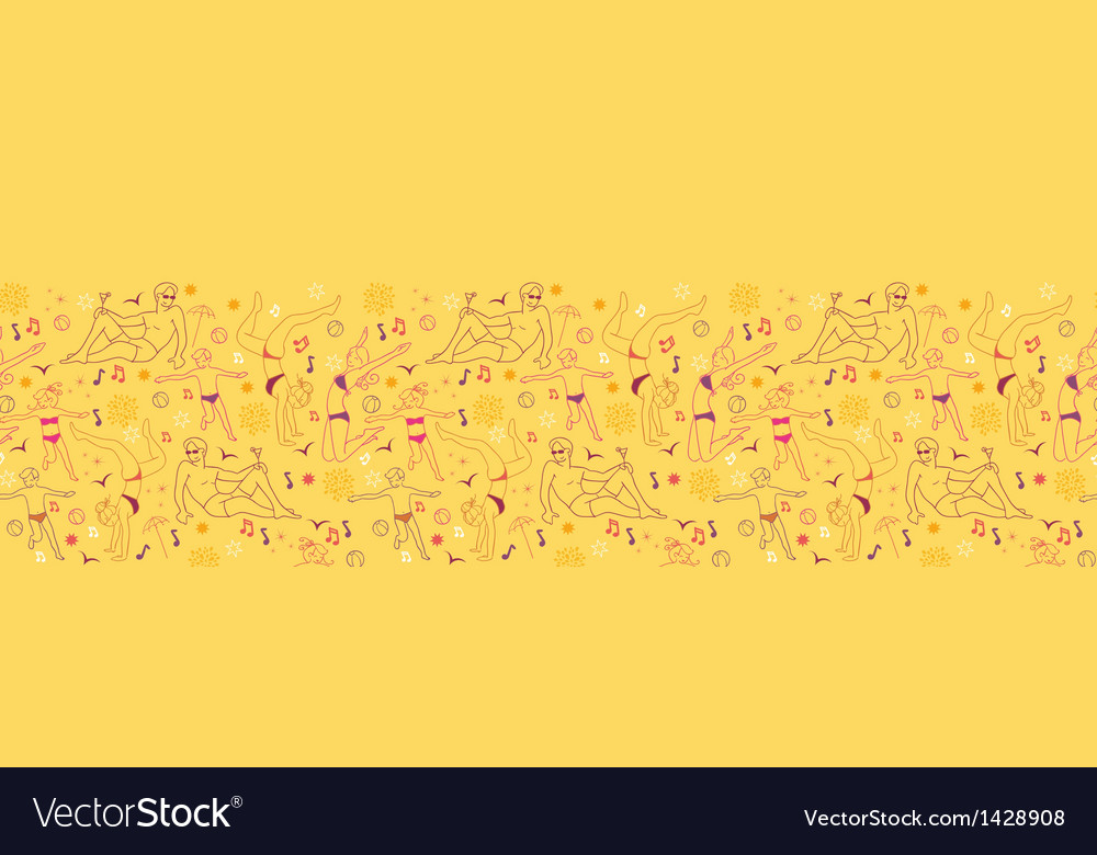 Family at the beach horizontal seamless pattern vector | Price: 1 Credit (USD $1)