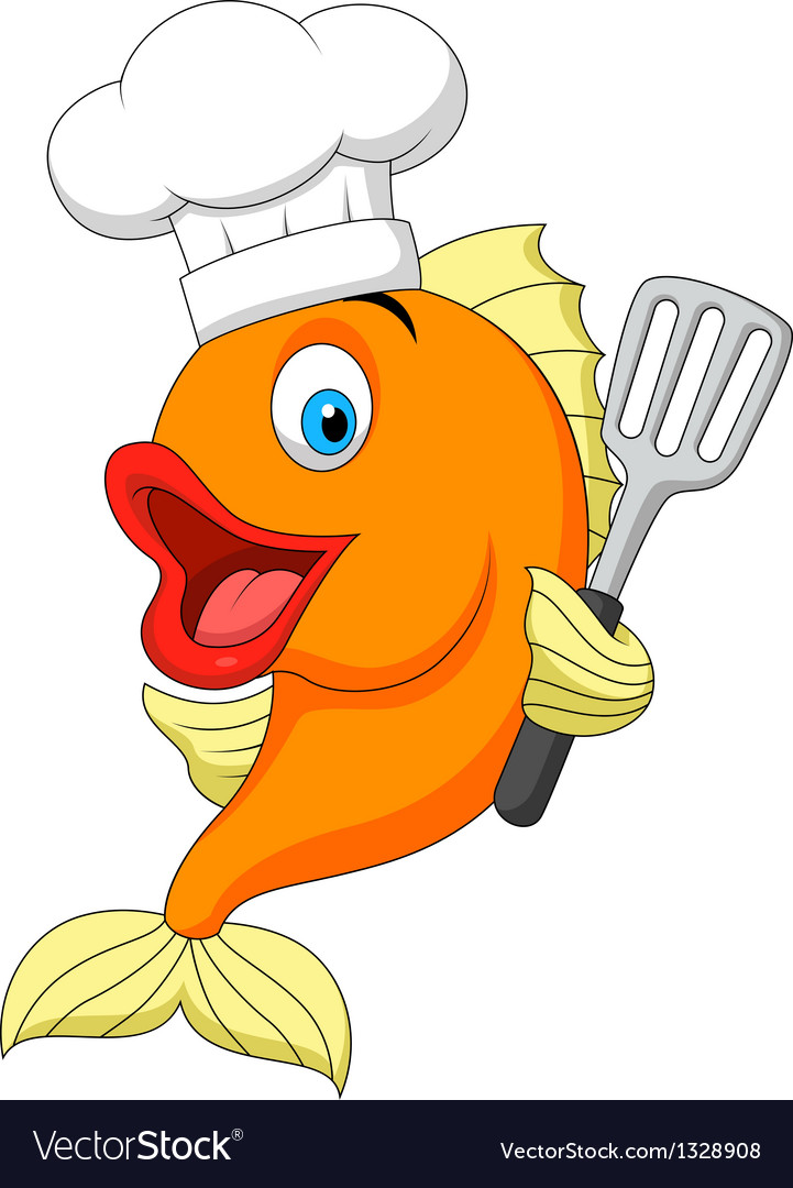 Fish chef cartoon vector | Price: 1 Credit (USD $1)