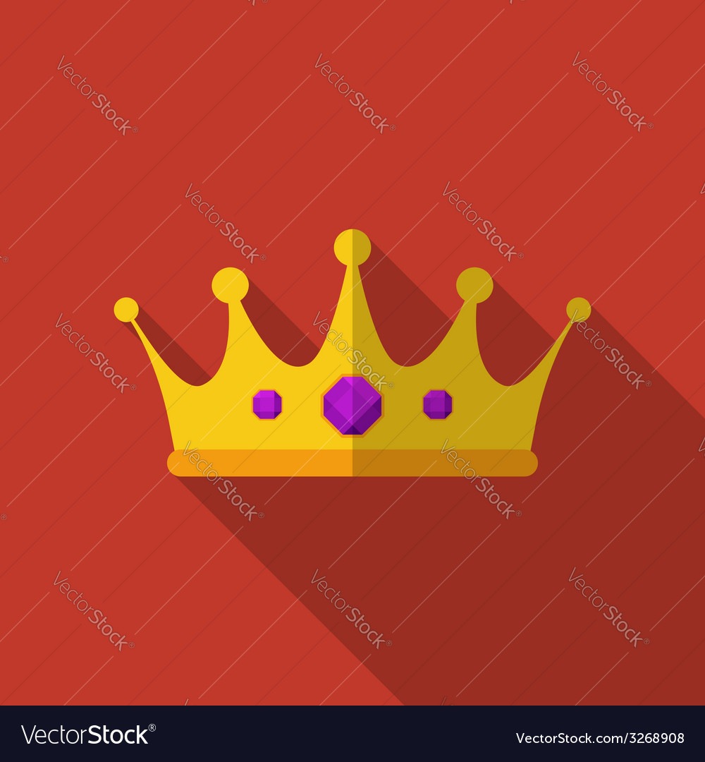 Flat crown with long shadow icon vector   Price: 1 Credit (USD $1)