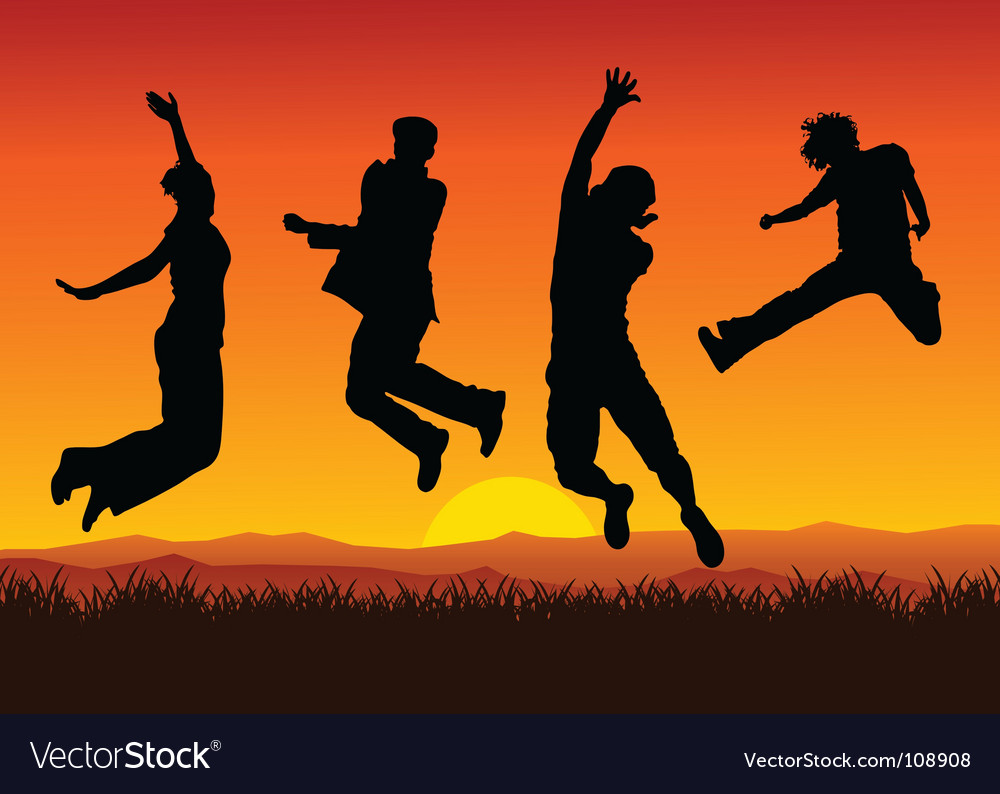 Jumping on sunset vector | Price: 1 Credit (USD $1)