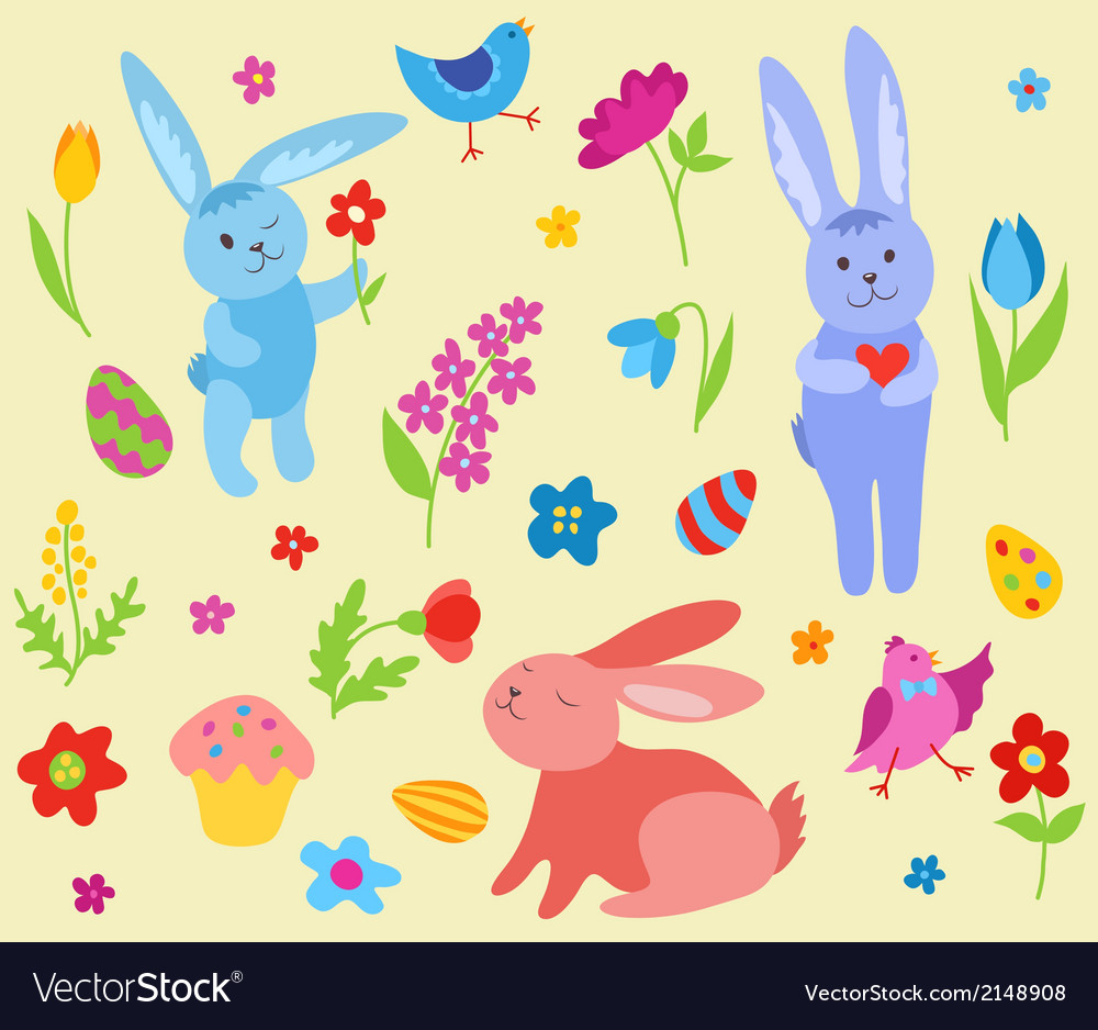 Set of cute easter rabbits vector | Price: 1 Credit (USD $1)