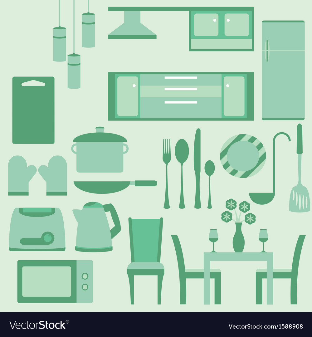 Set of furniture in kitchenroom vector | Price: 1 Credit (USD $1)