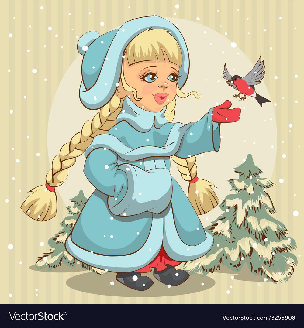 Snow maiden in blue fur coat feeds bullfinch vector   Price: 1 Credit (USD $1)
