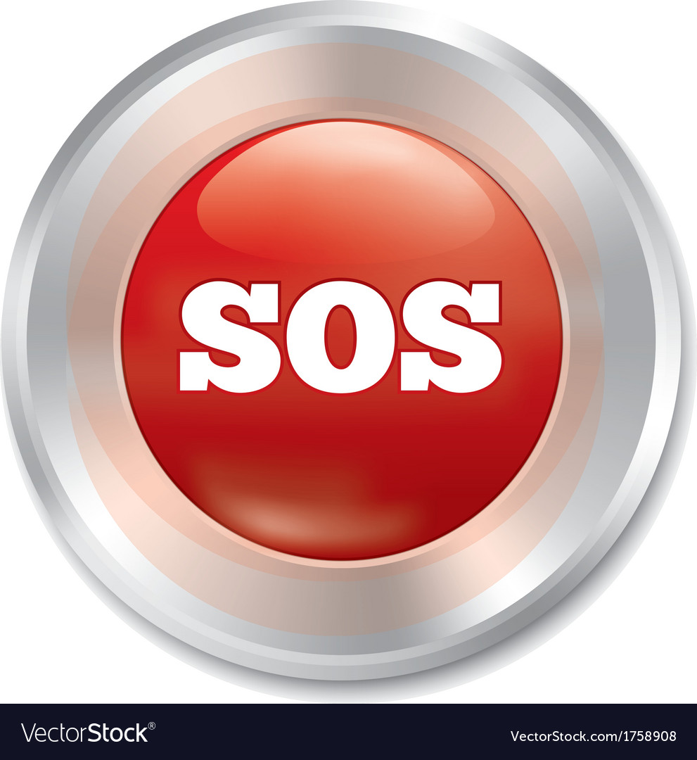 Sos button metallic icon on white background vector | Price: 1 Credit (USD $1)
