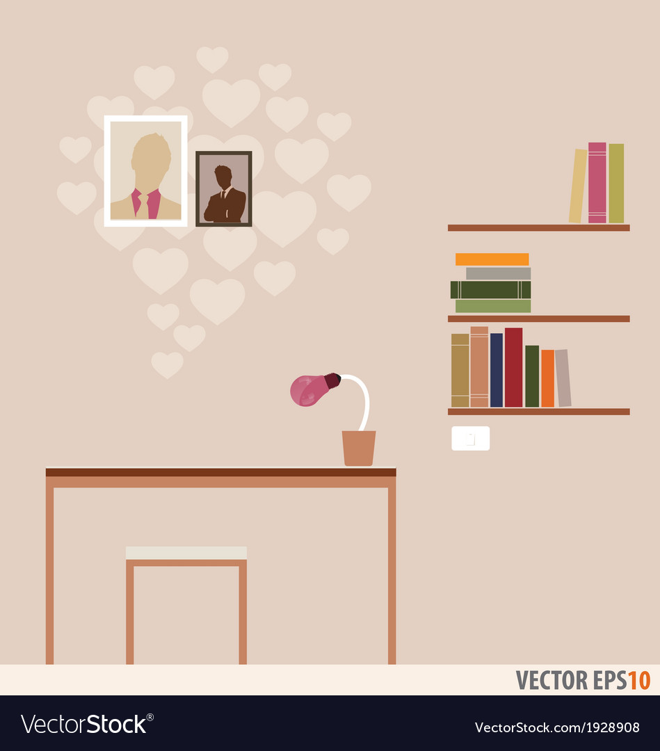 Workstation and bookshelf with heart wallpaper vector | Price: 1 Credit (USD $1)