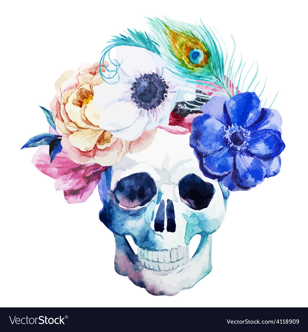 Anemones and scull vector | Price: 1 Credit (USD $1)