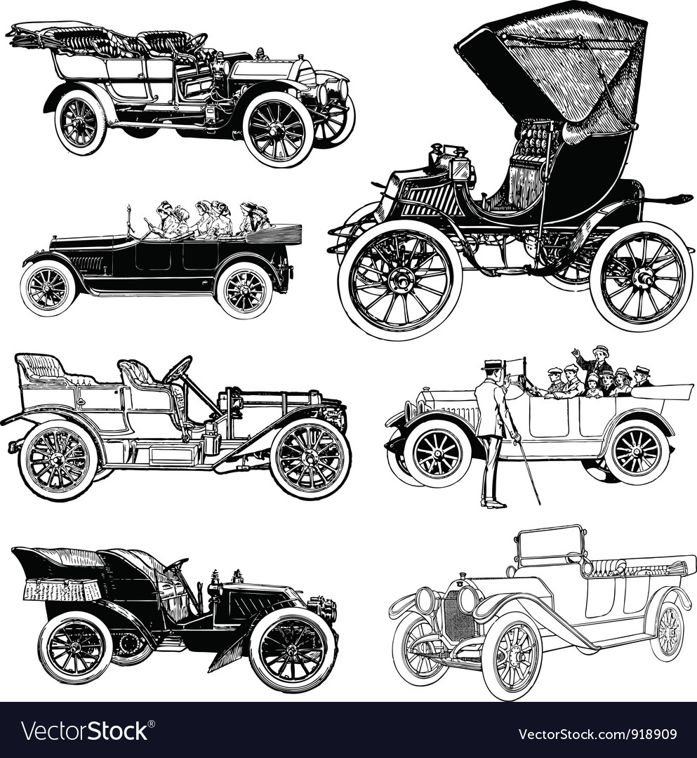 Antique cars vector | Price: 1 Credit (USD $1)
