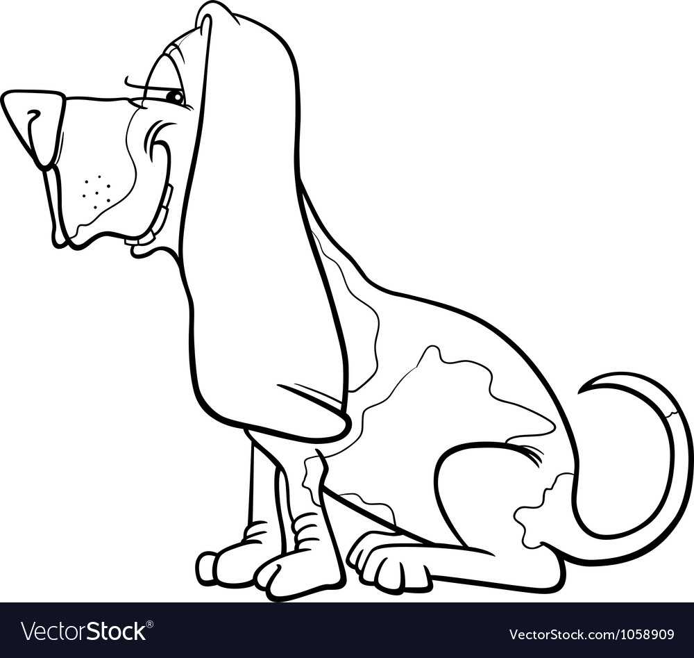Basset hound dog cartoon for coloring vector | Price: 1 Credit (USD $1)