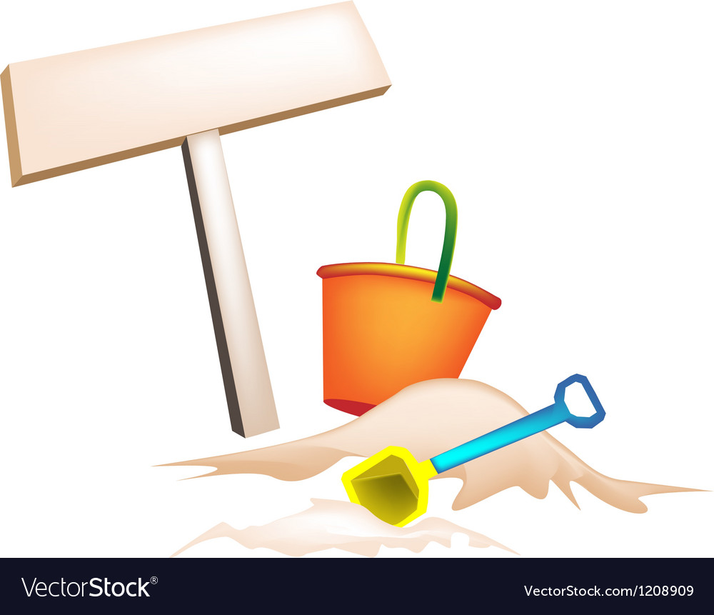 Beach bucket and wooden placard vector | Price: 1 Credit (USD $1)